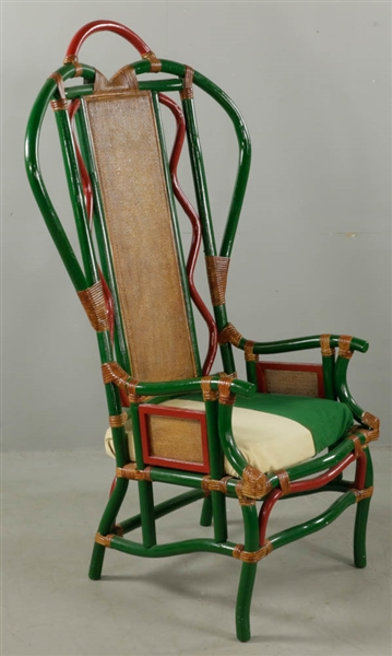 Antique Bamboo and Rattan Armchair