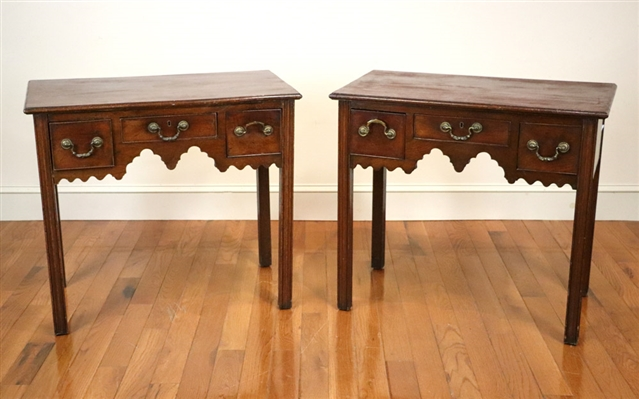 Pair 18th/19th C English Chippendale Tables