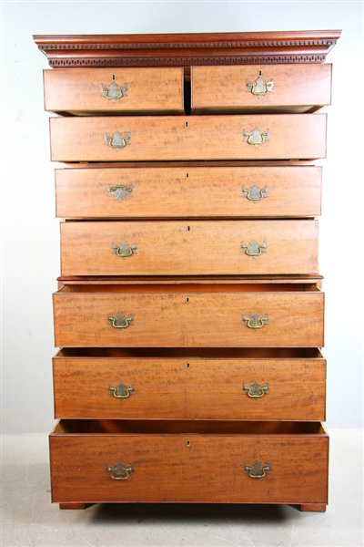19thC Chippendale Chest on Chest