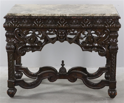 Antique Walnut Marble-top Pier Table