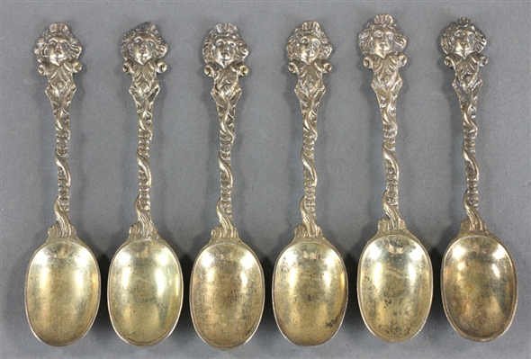 Set of Six English Silver Vermeil Spoons