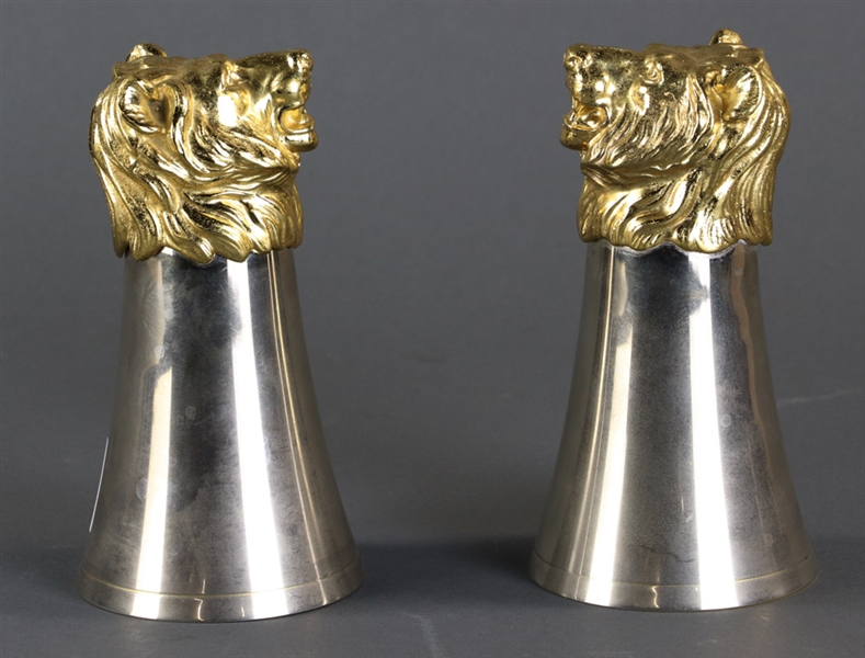 Pair of Lion Head Form Gucci Stirrup Cups