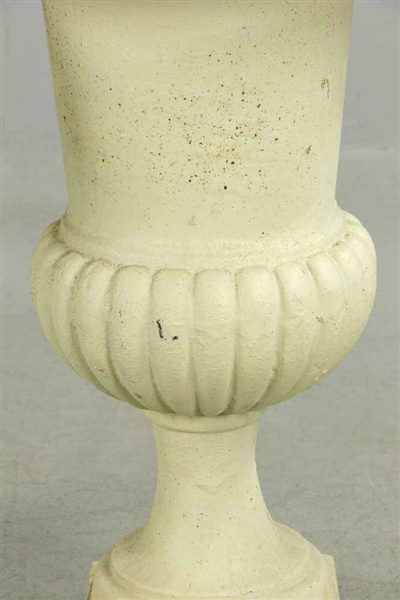 Pair of Small Classical Cast Iron Urns Cream Color