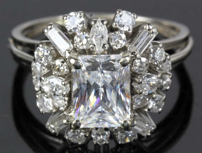 Ladies White Gold Cluster Design Ring