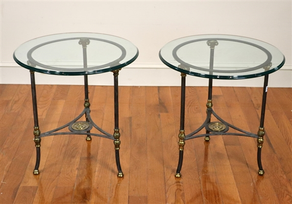 Pair of Wrought Iron Glass Top Tables