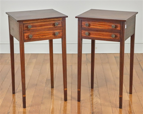Pair of Hepplewhite Style 2-Drawer Stands