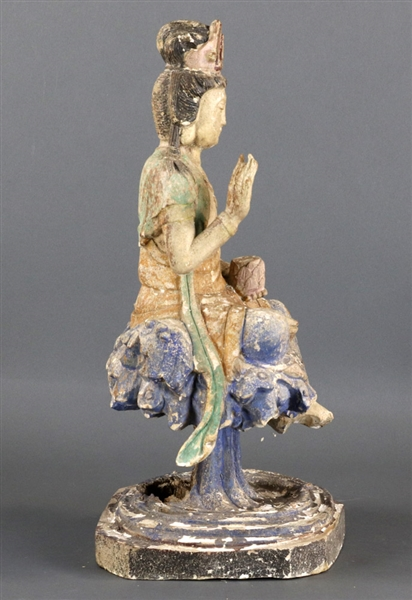 Carved and Polychrome Wood Guanyin