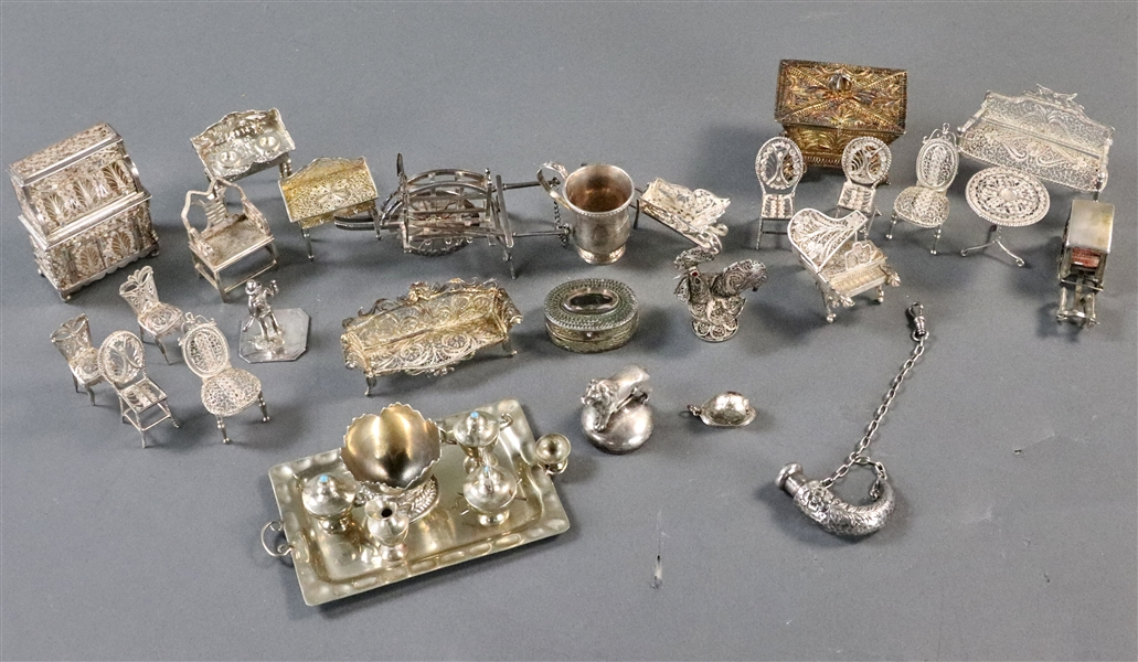 Assorted Silver Miniature Doll Furniture
