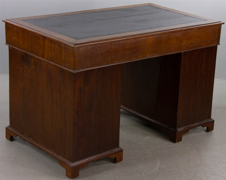 19th C English Leather-top Kneehole Desk
