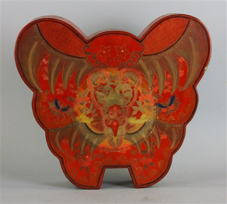 Chinese Red Lacquered Butterfly Box