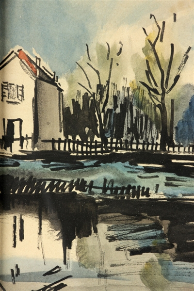 Attr to De Vlaminck, House at Water's Edge