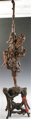 Chinese 19thC Carved Wood Luohan Figure
