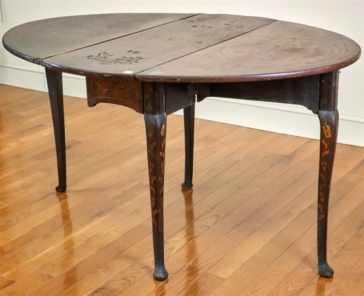 Period Queen Anne Inlaid Drop Leaf Table
