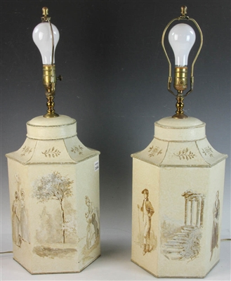 Pair of Chinese Tea Tin Lamps