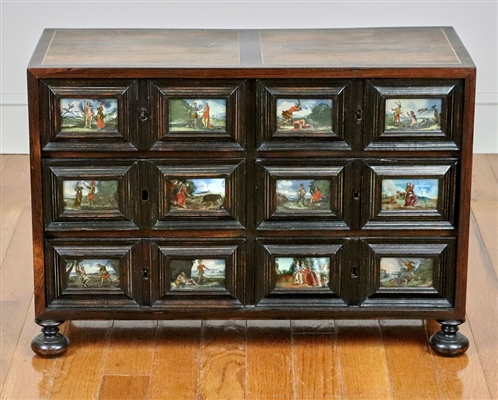 Six Drawer Chest with Reverse Painted Scenes