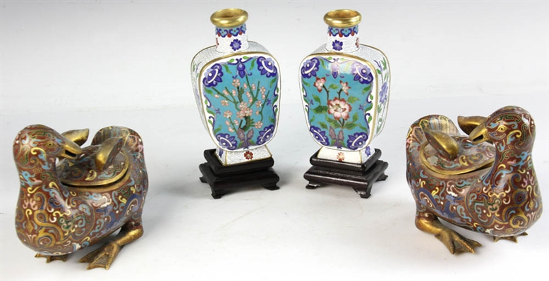 Group of Chinese Cloisonne Ducks and Vases
