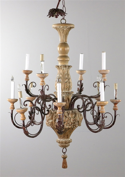 Semi Antique Wrought Iron and Wooden Chandelier