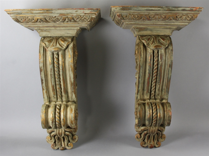 Pair of Antique Giltwood Wall Shelves