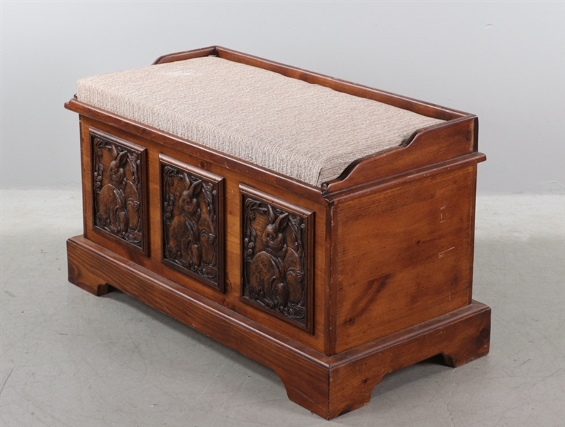 Old Pine Blanket Chest with Carved Rabbit Panels
