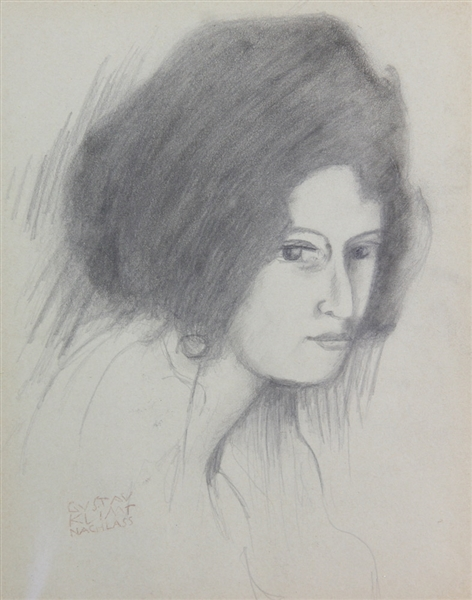 Gustav Klimt, Pencil Drawing, Lady