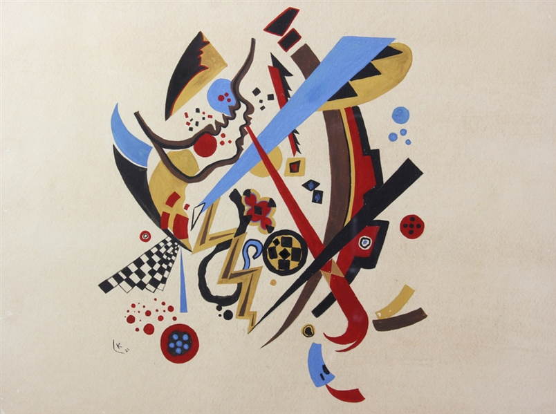 Kandinsky, Watercolor Abstract, Bears Initial K
