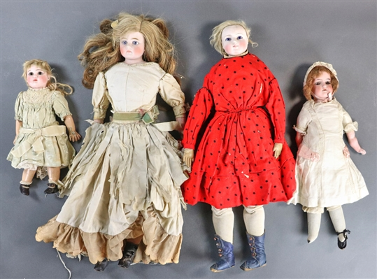 Collection of Antique Bisque Head Dolls