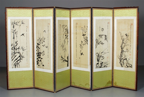 Six Panel Screen with Chinese Paintings
