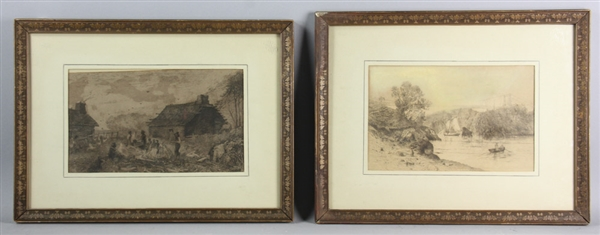 Two Etchings, JM Falconer Black Family, River View