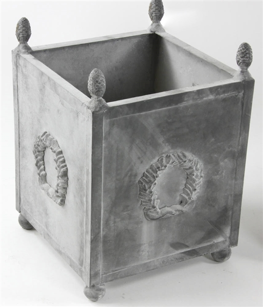 Pair of Georgian Style Grey Metal Planters