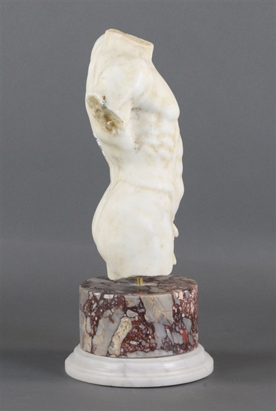 Carved Italian Marble Torso on Base