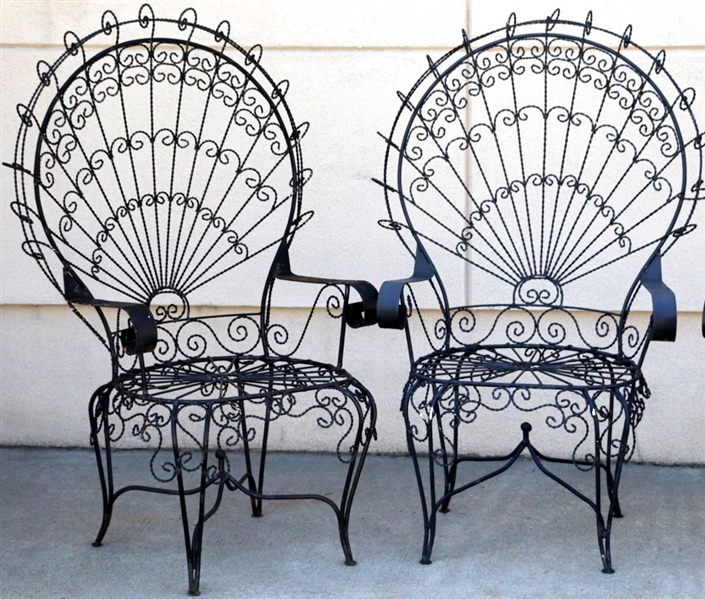 Four Black Outdoor Fan Chairs