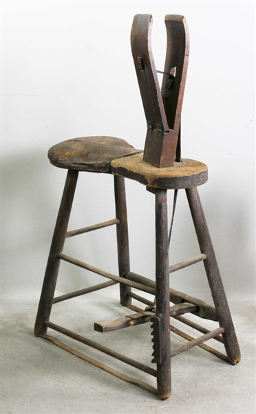 Antique Equestrian Stitching Horse Cobbler Bench