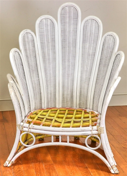 Pair of Vintage Wicker Palm Chairs