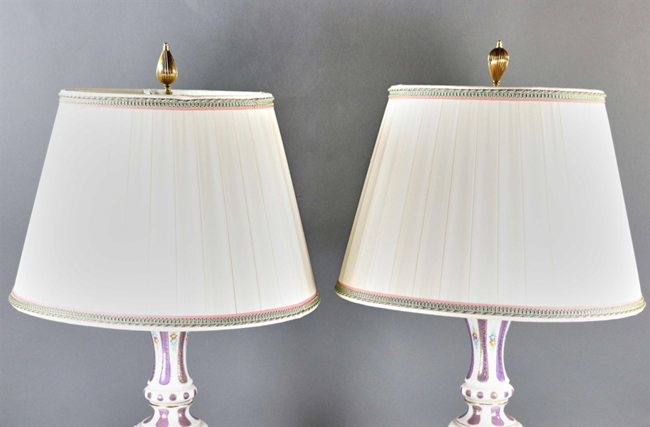 Pair of French Style Porcelain and Glass Lamps