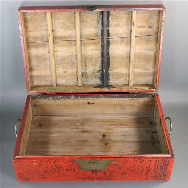 Antique Chinese Red Painted Box