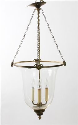 Brass and Glass Chandelier with Ram Heads