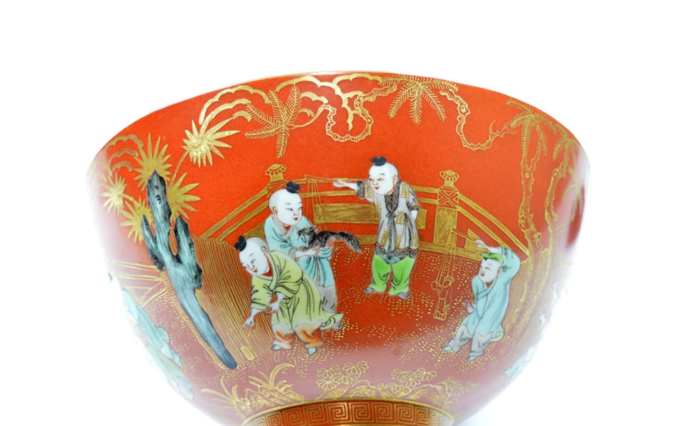 Large and Fine Chinese Boys Porcelain Bowl