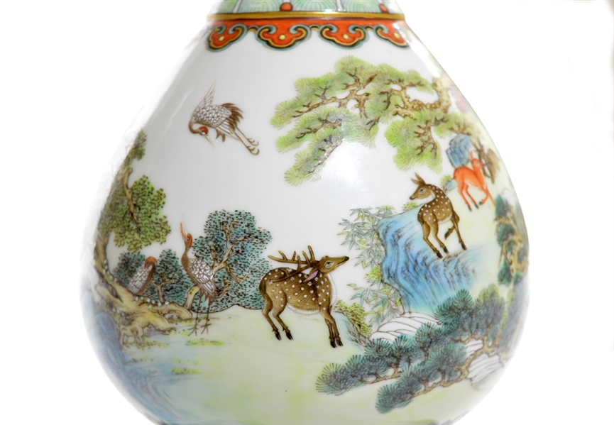 Extremely Fine Rare Chinese Famille Rose Deers Vase