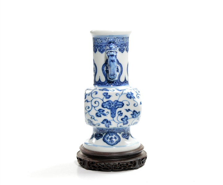 Rare Chinese Blue and White Faceted Porcelain Vase