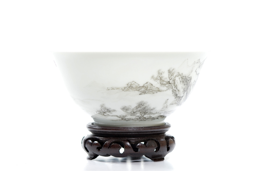 Fine Chinese Famille Rose Landscape and Poem Bowl