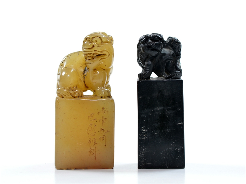 Two Chinese Soap Stone Seals