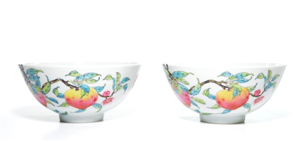 Very Fine Pair of Chinese Famille Rose Peach Bowls