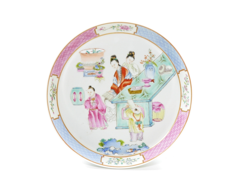 Chinese Famille Rose Court Lady Porcelain Dish