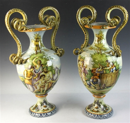 Pair of C1915 Capodimonte Urns with Serpents