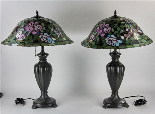 Pair of Leaded Stained Glass Table Lamps