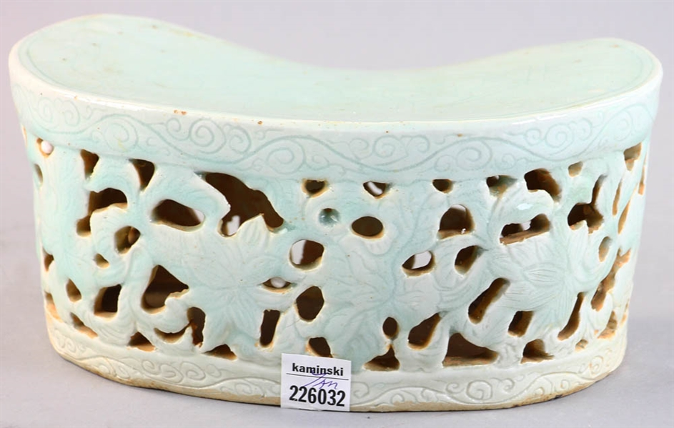 Chinese Celadon Pillow, Reticulated Border