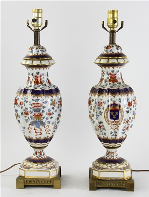 Pair of French Imari Style Table Lamps