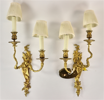 Pair of French Gilt Bronze Wall Sconces