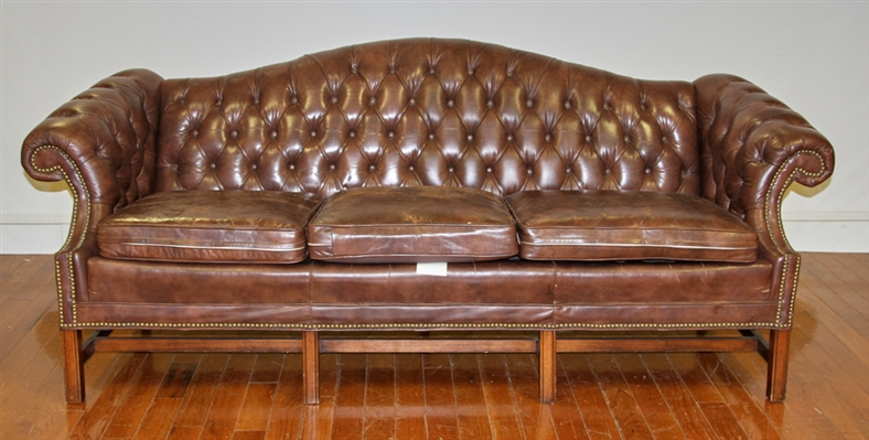 Leather Chesterfield Sofa with Brass Tack Trim