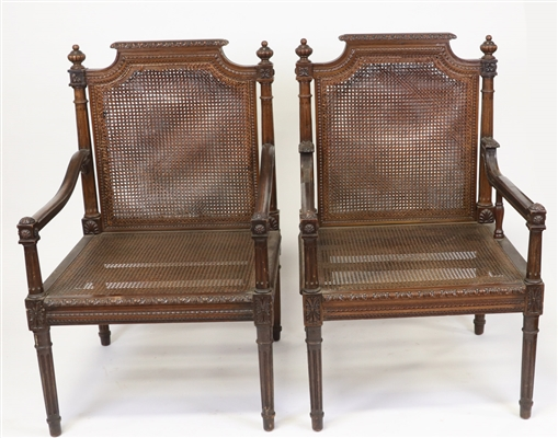 Antique French Carved His and Her Armchairs